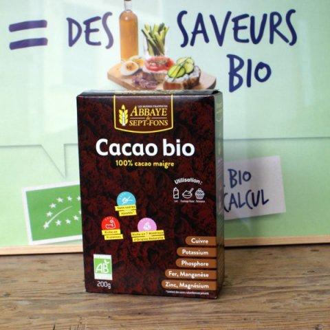 Cacao poudre bio 100% maigre. ABBAYE DE SEPT-FONS