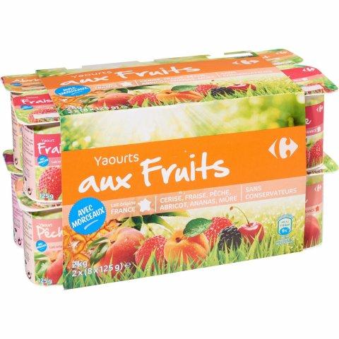 Yaourts fruits avec morceaux CARREFOUR