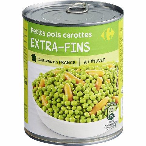 Petits pois carottes extra-fins à l'étuvée CARREFOUR