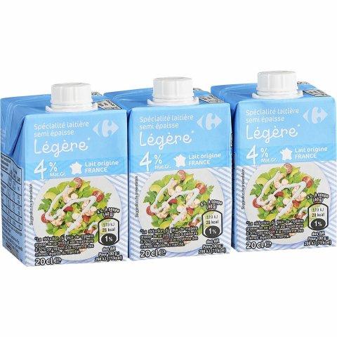 Crème liquide semi épaisse légère 4%MG
