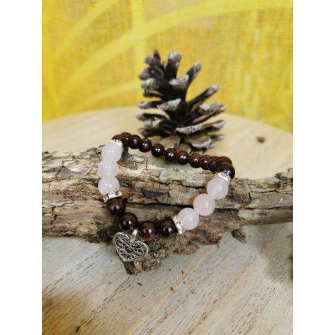 Bracelet Lithothérapie Grenat/Quartz Rose