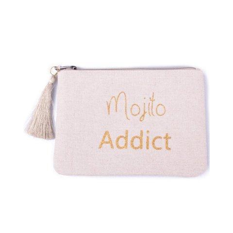 Pochette LOL Mojito Addict beige pailletée dorée et pompon