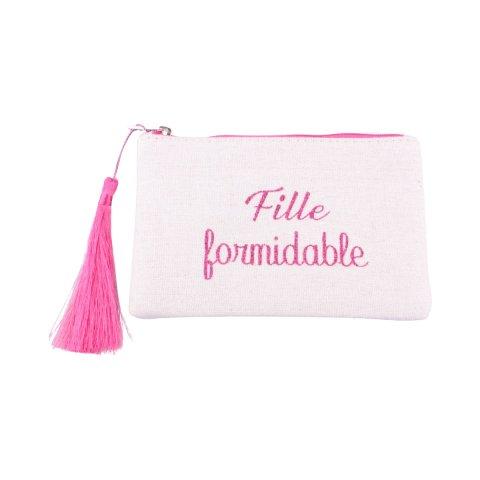 Petite pochette LOL beige pailletée fille formidable rose et pompon