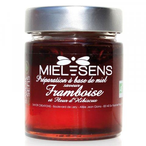 Miel bio saveur framboise et hibiscus