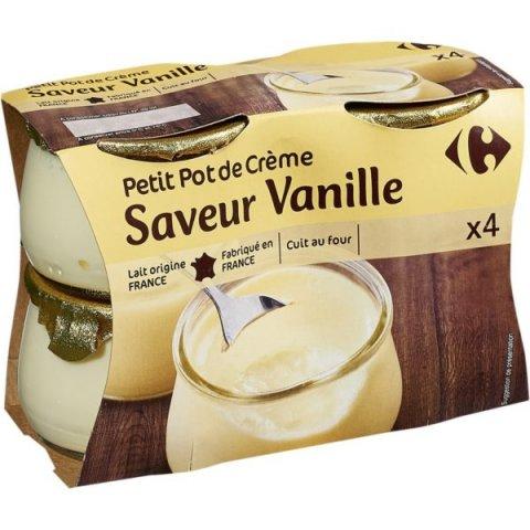Petit pot de crème saveur Vanille. CARREFOUR