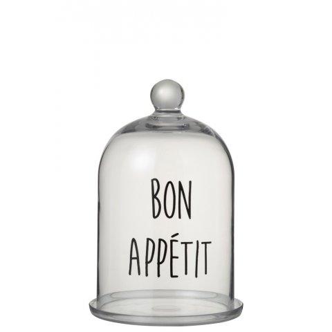 Cloche Bon Appétit Rond Verre Transparent/Noir