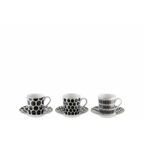 Boite De 6 Tasses + Sous-Tasse  Porcelaine Noir/Blanc