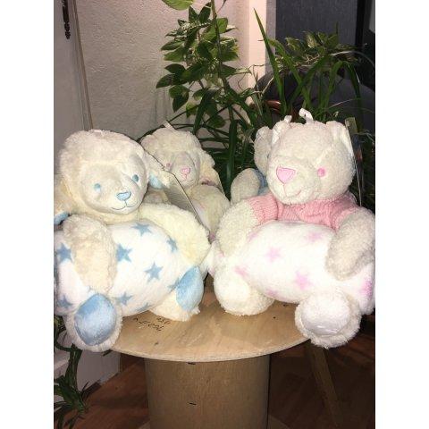 """Couverture et sa peluche ours bleu """"king Bear"""""""