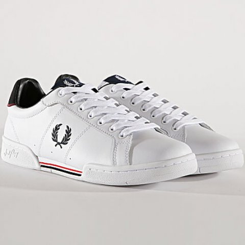 Fred Perry chaussures Homme - Baskets B6202 Cuir blanc 40/45