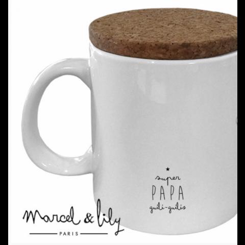 "Mug couvercle en liège ""Papa , Le Roi des Chatouilles"""