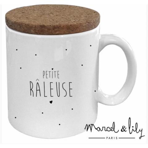 "Mug couvercle en liège ""Petite Râleuse"""