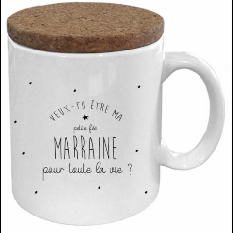"""Mug couvercle en liège """"Veux- tu être ma Marraine"""""""