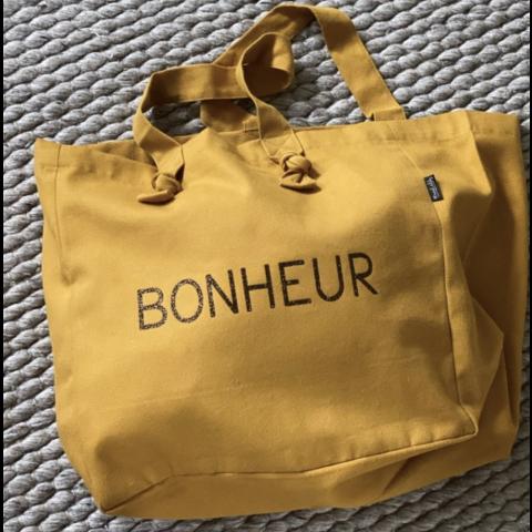 """Grand cabas """"BONHEUR"""" couleur moutarde, MARCEL & LILY"""