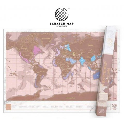 Carte du monde à gratter ROSE GOLD Scratch Map®