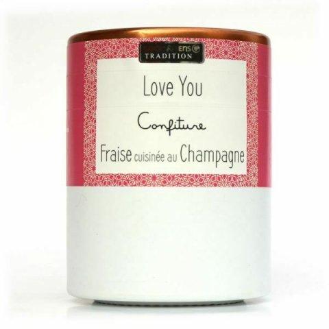 Confiture LOVE YOU : Fraise cuisinée au Champagne Savor et Sens Tradit
