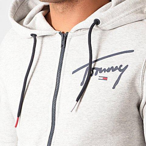 Sweat Homme Zippé Capuche Tommy Script 7026 Gris Chiné TOMMY HILFIGER JEANS XS/2XL