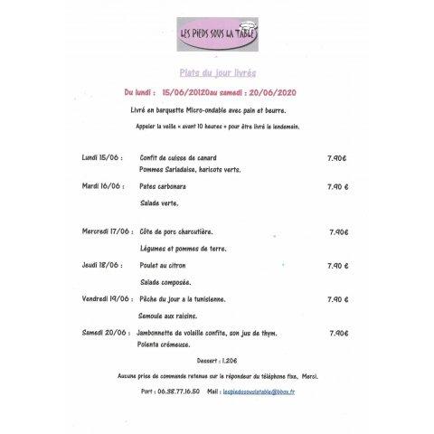 Plats en livraison du 15 au 20 juin