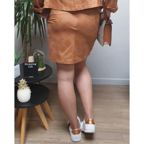 Jupe camel suédine poches zippées