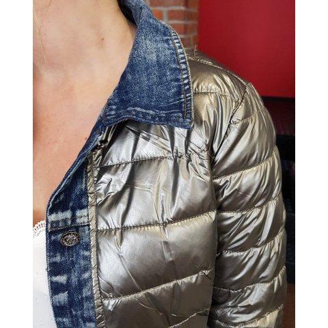 Doudoune argentée rebords jeans