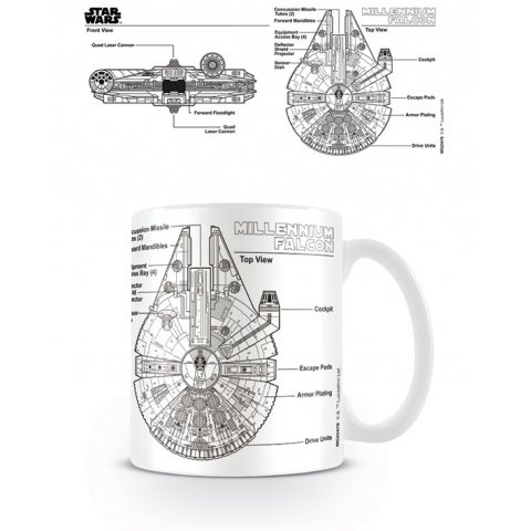 Mug Falcon Millenium Sketch Star Wars