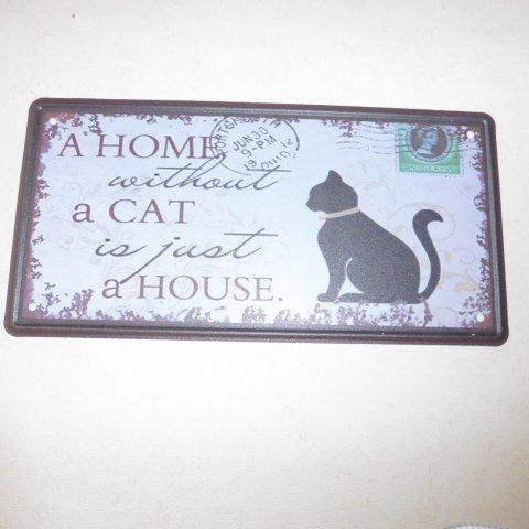 """Plaque Métal décor """"chat"""""""