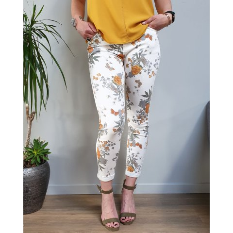 Pantalon blanc fleurs et papillons oranges et grises taille haute