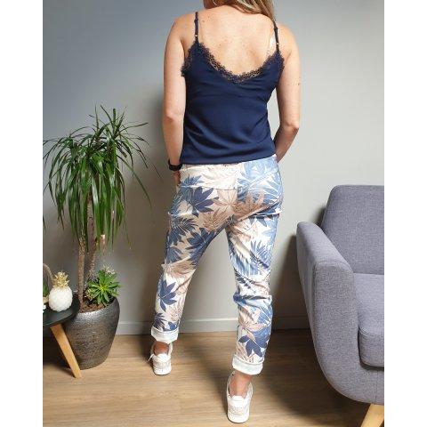 Pantalon fluide blanc feuillages bleu et beige