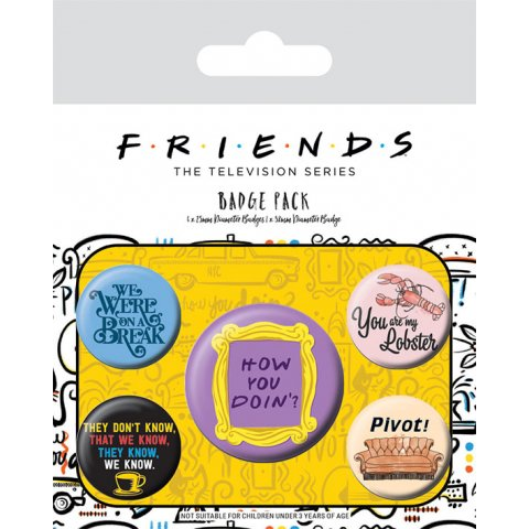 Pack de 5 badges Friends How You Doin'