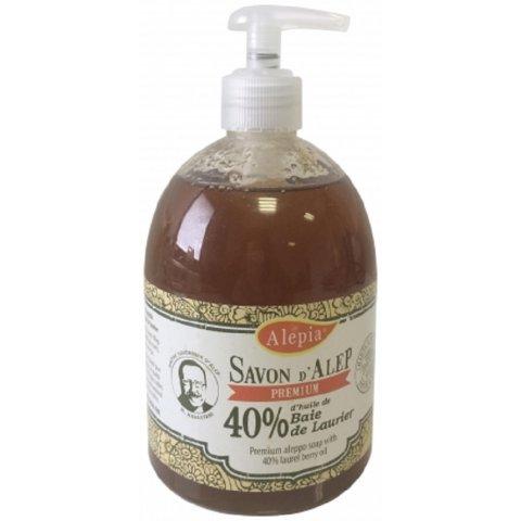 Savon liquide d'Alep prémium 40% laurier flacon pompe de 500ml.