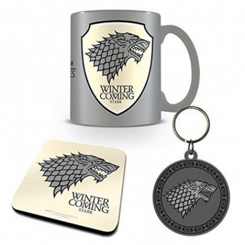 Set Game of Thrones Mug sous verre et porte-clés Stark