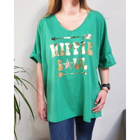 T-Shirt oversize vert Hippie Soul doré