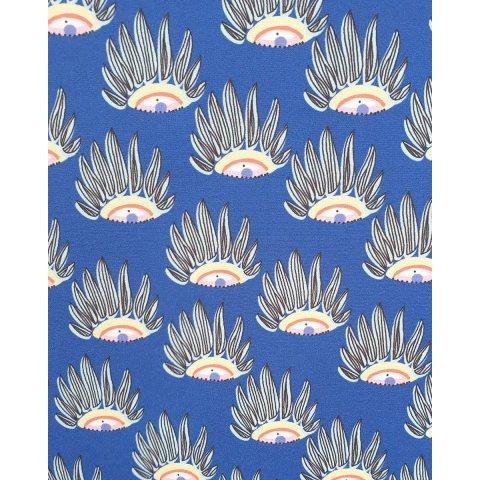 Blouse grande taille bleu roi motifs à plumes multicolores