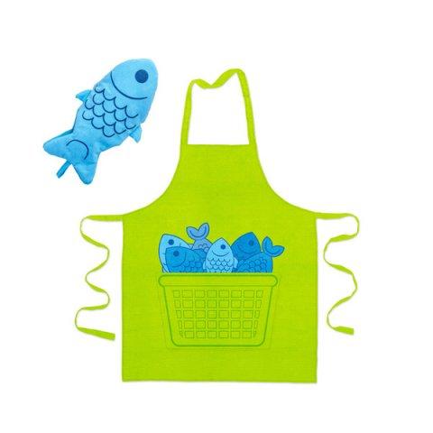 """Coffret Tablier et Manique de cuisine """"Reine des mers"""""""