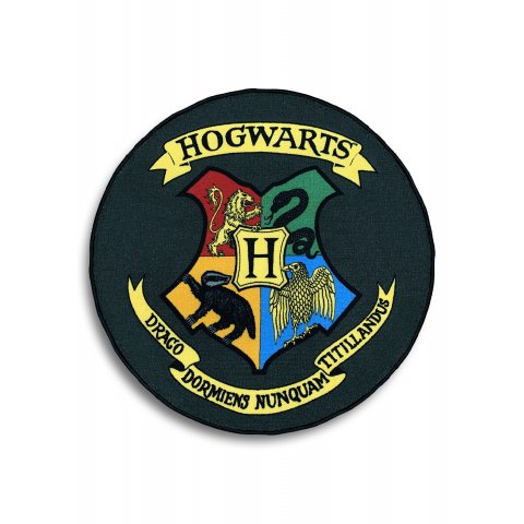 Tapis Harry Potter blason Poudlard rond noir