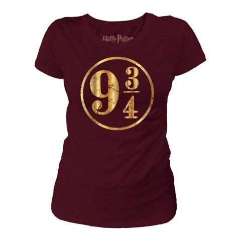 Tee-Shirt Harry Potter Femme 9 3/4 Bordeaux et doré