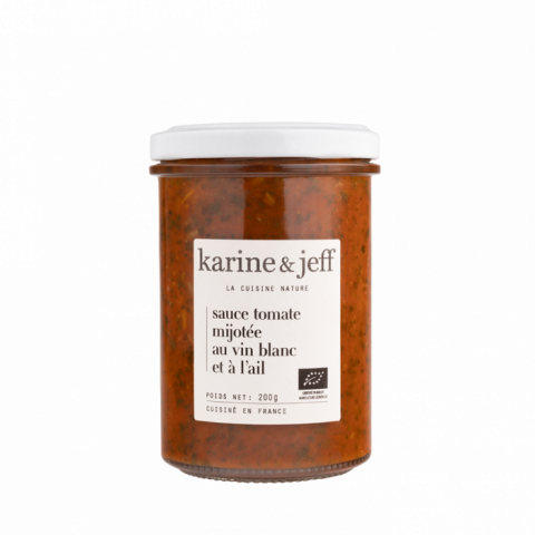Sauce tomate mijotée au vin blanc et à l'ail bio